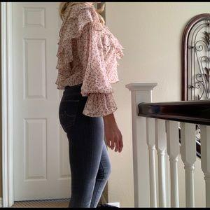 Zara Tops - ZARA Pink Off The Shoulder Ruffle Blouse Top M